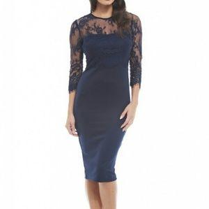 Eyelash Lace Sleeve Wiggle Sheath Dress